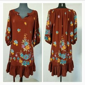 Uncle Frank Ruffled Floral Patterned Brown Dress